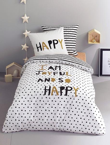 Meubles & Linge de lit-Linge de lit Enfant-Parures de lit enfant-Parure Fourre de duvet + taie d'oreiller Happy night
