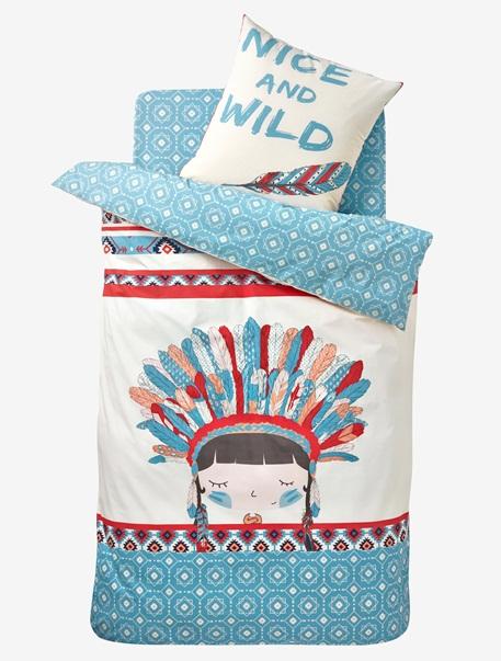 Meubles & Linge de lit-Linge de lit Enfant-Parures de lit enfant-Parure Fourre de duvet + taie d'oreiller P'tite indienne