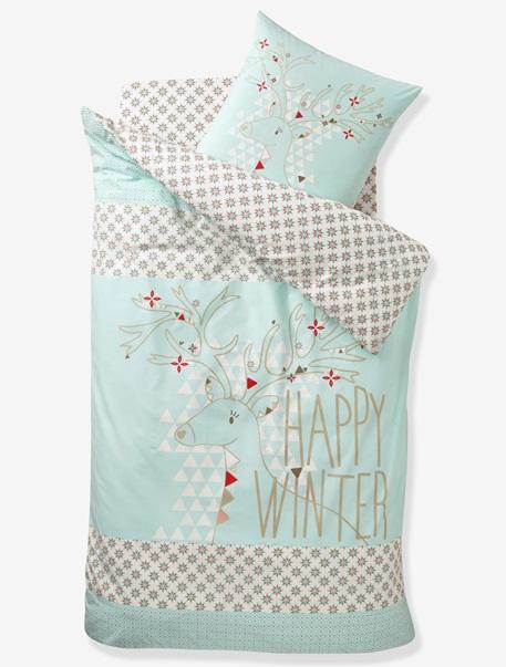 Meubles & Linge de lit-Linge de lit Enfant-Parures de lit enfant-Parure Fourre de duvet + taie d'oreiller Renne etoile