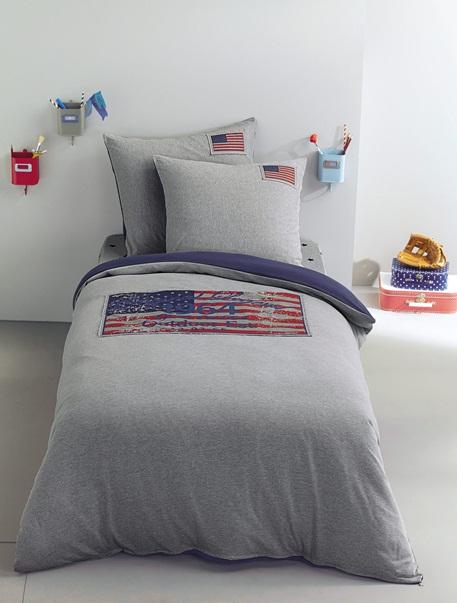 Meubles & Linge de lit-Linge de lit Enfant-Parures de lit enfant-Parure jersey Fourre de duvet + taie d'oreiller US Flag