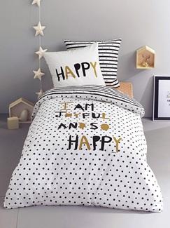 Chambre et Linge de lit-Textile-Linge de lit Enfant-Parures de lit Enfant-Parure Fourre de duvet + taie d'oreiller Happy night