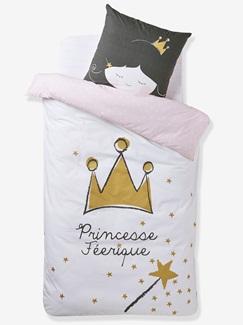 Chambre et Linge de lit-Textile-Linge de lit Enfant-Parures de lit Enfant-Parure Fourre de duvet + taie d'oreiller Princesse feerique