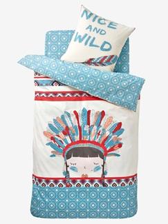 Chambre et Linge de lit-Textile-Linge de lit Enfant-Parures de lit Enfant-Parure Fourre de duvet + taie d'oreiller P'tite indienne
