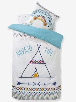 Chambre et Linge de lit-Textile-Linge de lit Enfant-Parures de lit Enfant-Parure Fourre de duvet + taie d'oreiller P'tit indien