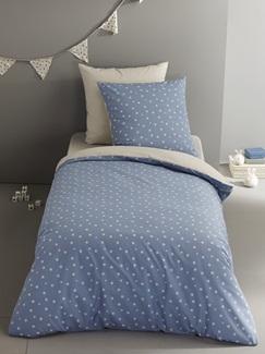 Chambre et Linge de lit-Textile-Linge de lit Enfant-Parures de lit Enfant-Parure Fourre de duvet + taie d'oreiller imprime etoiles