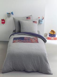 Chambre et Linge de lit-Textile-Linge de lit Enfant-Parures de lit Enfant-Parure jersey Fourre de duvet + taie d'oreiller US Flag