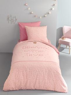 Chambre et Linge de lit-Textile-Linge de lit Enfant-Parures de lit Enfant-Parure Fourre de duvet + taie d'oreiller La nuit en rose