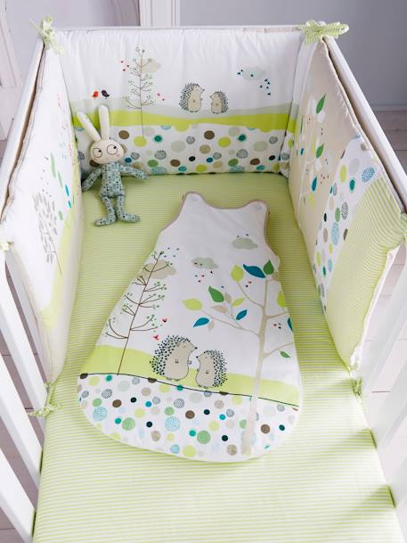 Drap housse b b pic nic raye vert blanc meubles et for Drap housse lit bebe