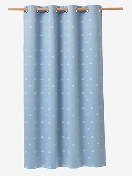 verdunkelungsvorhang mit wolken und schafen blau weiss deko aufbewahren. Black Bedroom Furniture Sets. Home Design Ideas