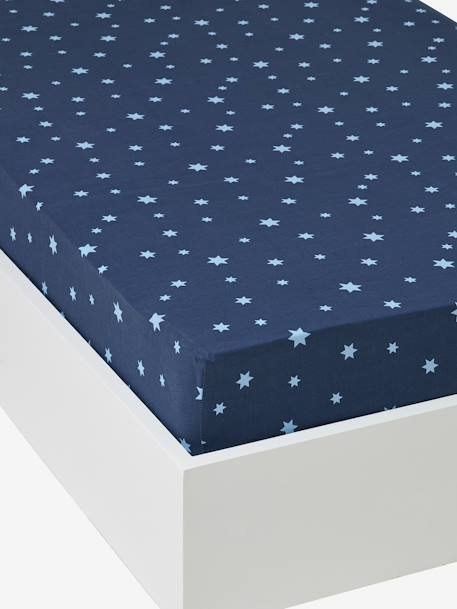 drap housse enfant stars in the sky bleu meubles et linge de lit. Black Bedroom Furniture Sets. Home Design Ideas