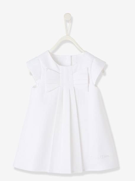 Robe bébé fille manches courtes BLANC+Orange Blush