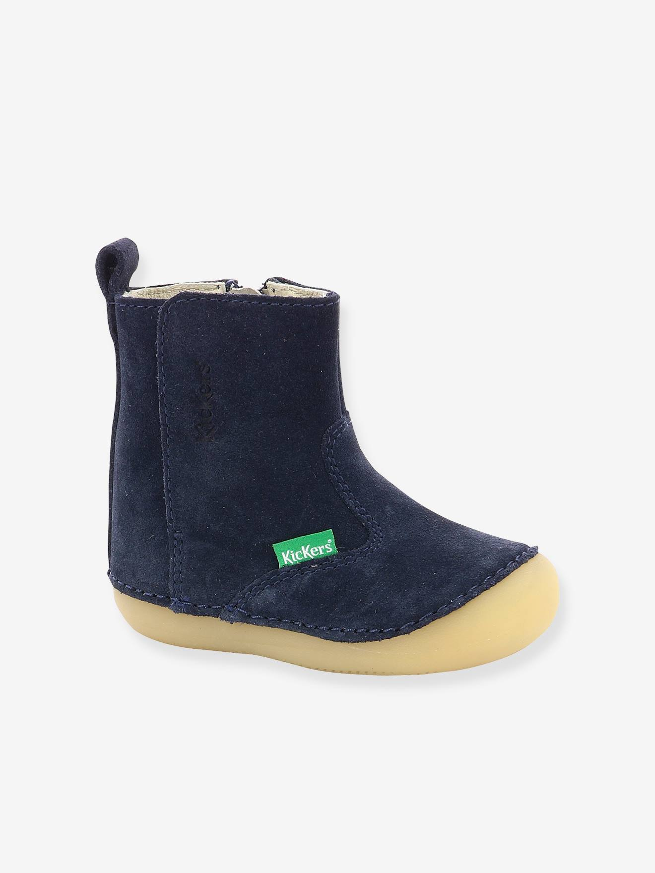 cuir Socool fille bébé marineChaussures Boots KICKERS® pas 1ers 8nwNvm0