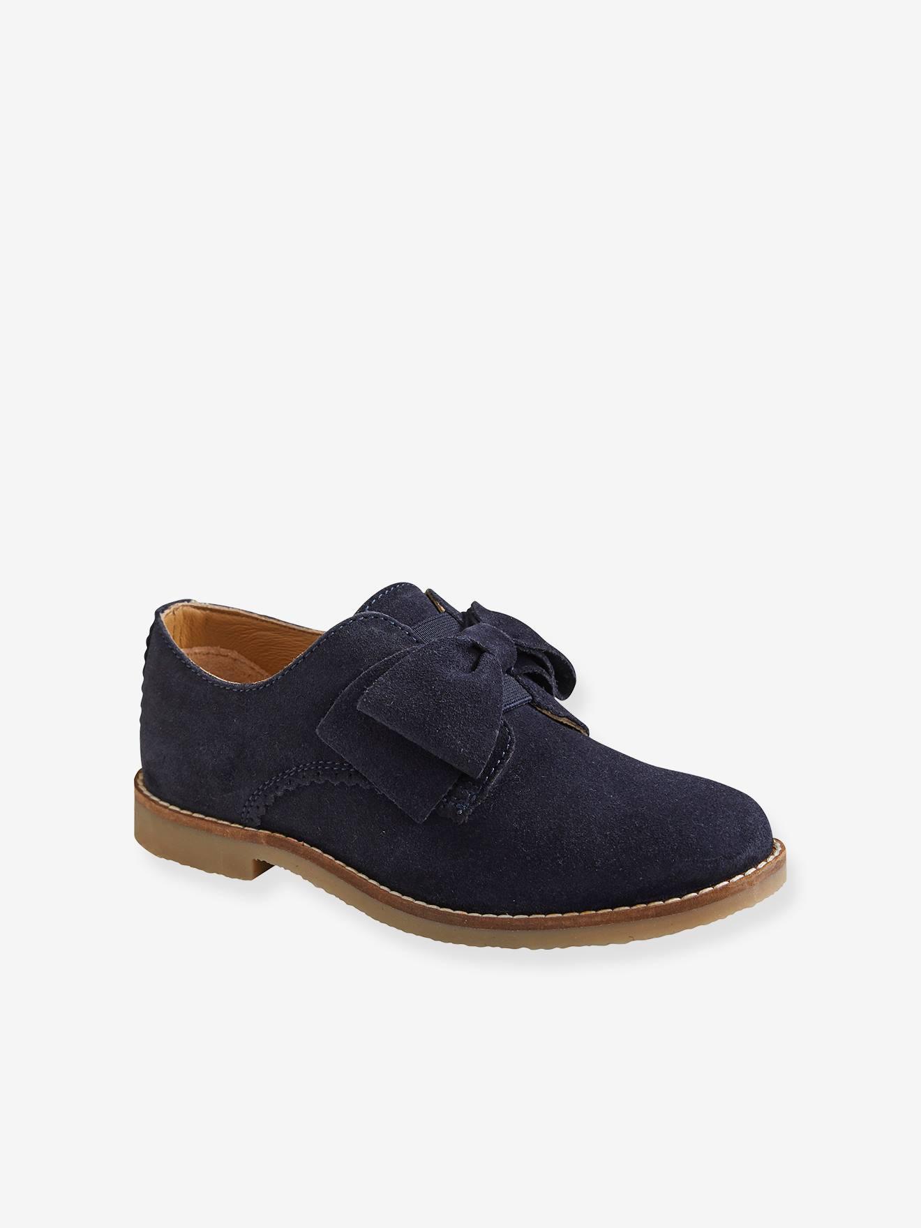 Bottines derby fille en cuir marine, Chaussures