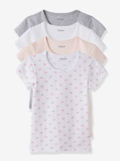 Fille-Lot de 4 T-shirts fille manches courtes
