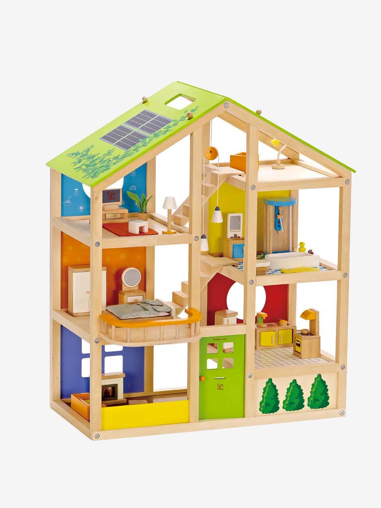 Grande maison de poupée en bois avec meubles et poupées Famille-Disponible immédiatement