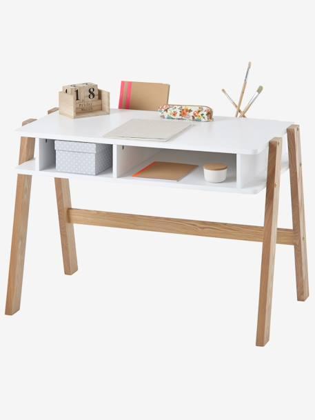 Kinderschreibtisch  Kinderschreibtisch mit Ablagefächern - weiss/natur, Möbel & Bettwäsche
