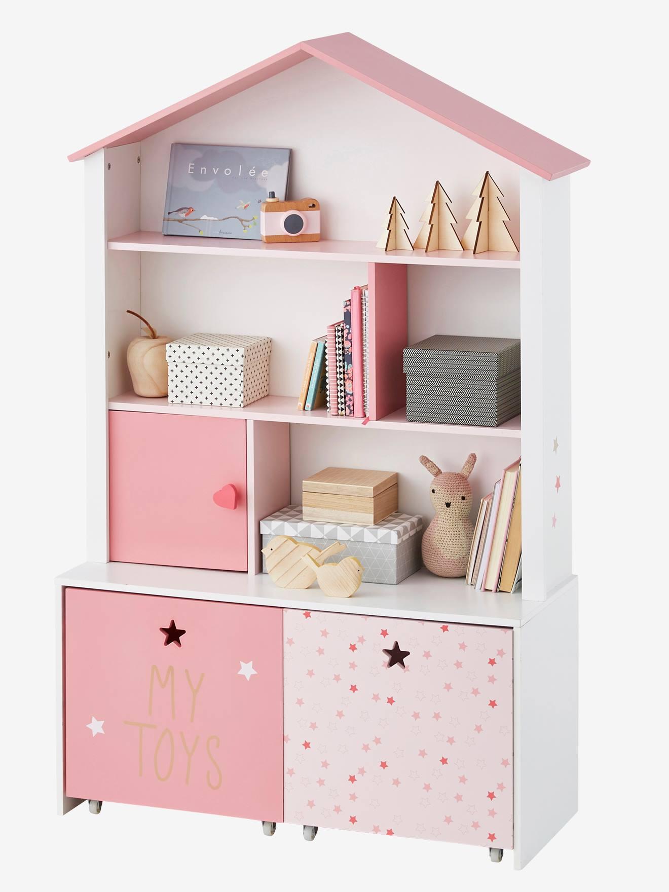 Regalschrank für Kinderzimmer - weiss/rosa, Deko & Aufbewahren
