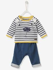 Ensemble bébé pull brodé + pantalon denim