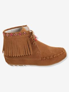 Chaussures-Bottines cuir fille broderies et franges
