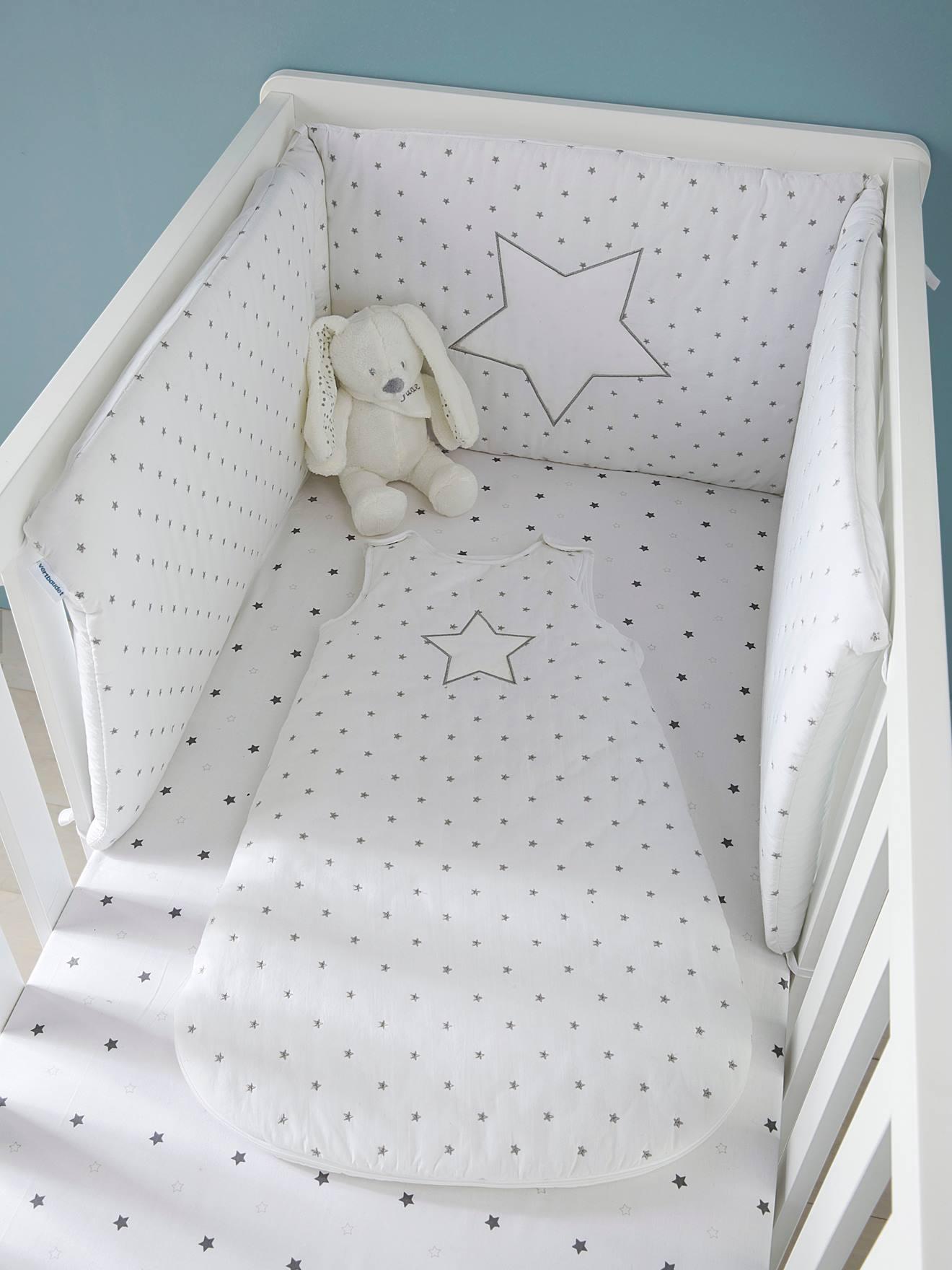 Tour de lit PLUIE D'ETOILES - blanc, Linge