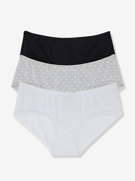 Lot de 3 shorties de grossesse imprimés Lot noir+MARINE+ROSE PALE+ROSE A POIS