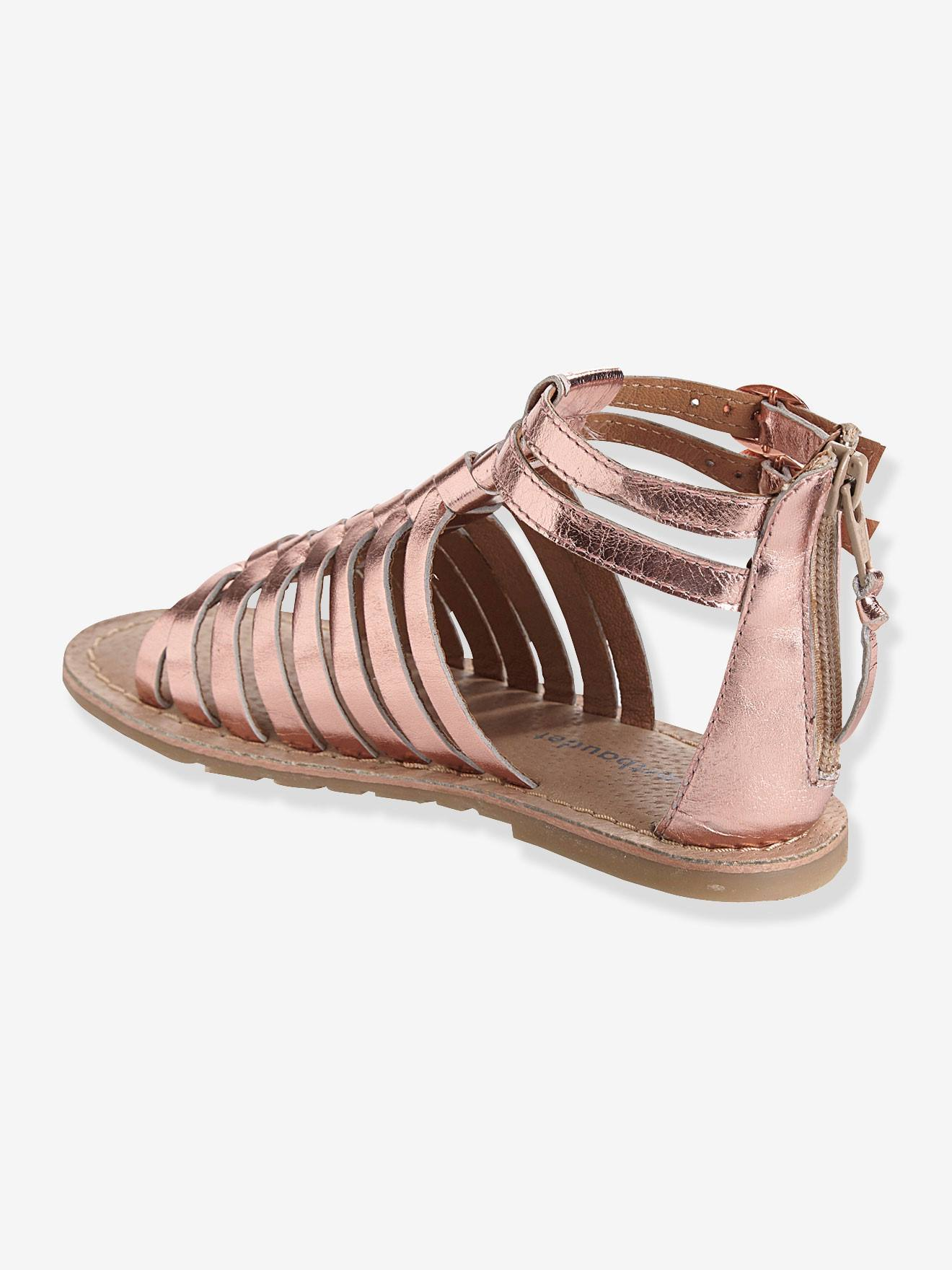 Sandalen für Mädchen, Leder fuchsia