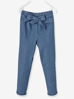 Collection cérémonie-Pantalon fille esprit chino en denim léger