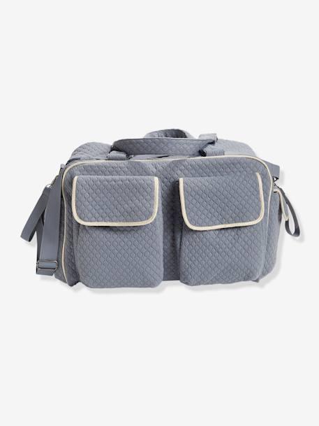 Sac à langer Week-end VERTBAUDET Bleu grisé motif chevrons+ROSE POUDRE 117272589721