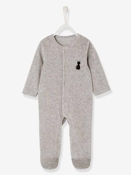 52b526c4c3b Pyjama bébé velours bio dos fantaisie - gris chiné