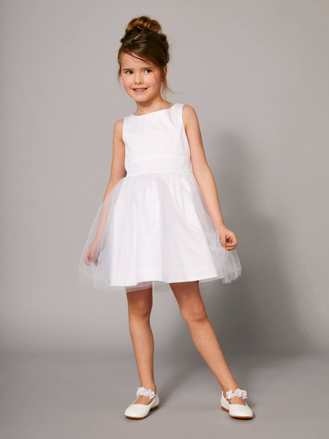 Fille Tulle En Satin Et Blanc De Robe Cérémonie 3c4q5RjLAS