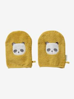 Nouvelle Collection-Meubles et linge de lit-Lot de 2 gants de toilette Panda