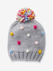 Bonnet pompons multicolores fille