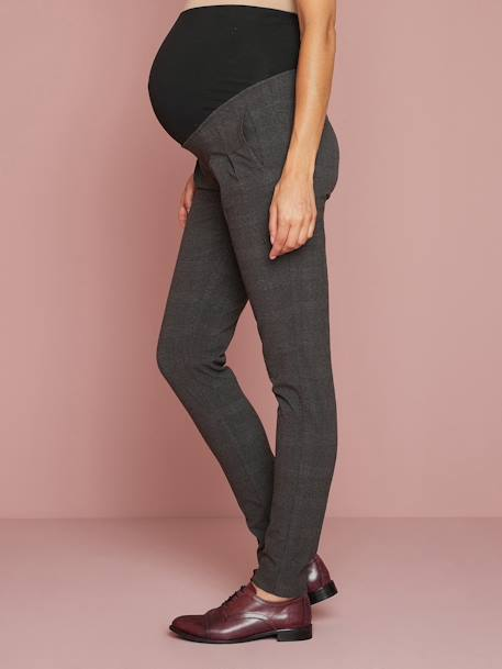 Pantalon de grossesse à carreaux ANTHRACITE