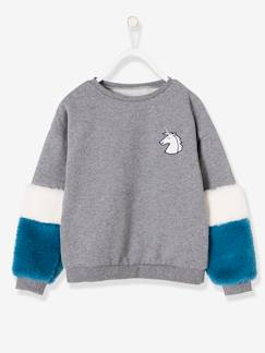 Fille-Pull, gilet, sweat-Sweat-Sweat fille badge licorne manches aspect fourrure