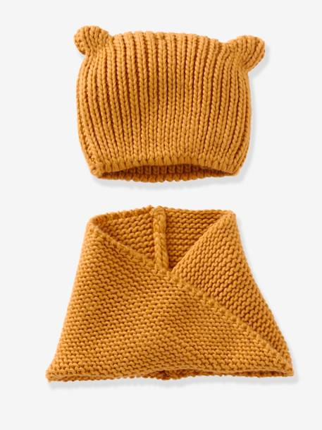 Snood fille + bonnet fantaisie BLEU+GRENAT+Jaune moutarde+ORANGE CLAIR