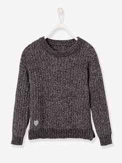 Nouvelle Collection-Fille-Pull fille maille chenille fil brillant