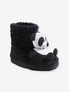 Nouvelle Collection-Chaussures-Chaussons montants pandas fille en peluche