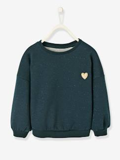 Fille-Pull, gilet, sweat-Sweat-Sweat fille molleton irisé patch coeur