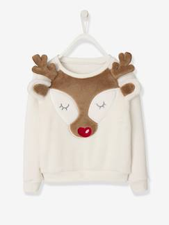 Fille-Sweat-Sweat de Noël fille avec patch peluche