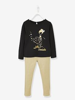 Fille-Pull, gilet, sweat-Sweat-Ensemble fille T-shirt motifs irisés et pantalon doré