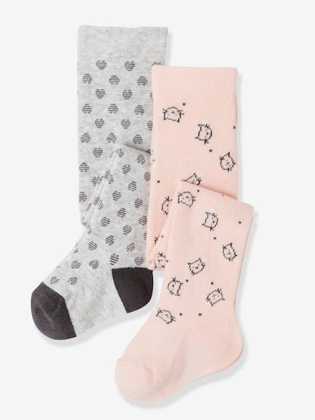 Lot de 2 collants bébé fantaisie LOT ROSE