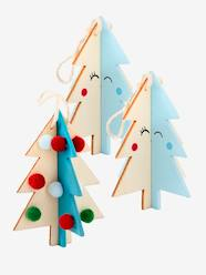 Lot de 3 décorations de Noël sapins en bois