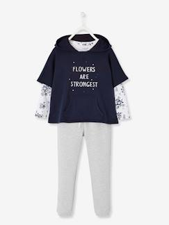 Fille-Pull, gilet, sweat-Sweat-Ensemble fille sweat + T-shirt + pantalon