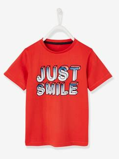 "Garçon-T-shirt, polo, sous-pull-T-shirt-T-shirt garçon inscription ""just smile"""