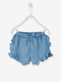 La nouvelle collection 2019-Bébé-Short à volants bébé fille en denim léger