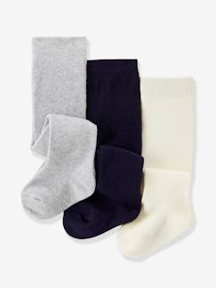 Bébé-Chaussettes, Collants-Lot de 3 collants bébé fille jersey