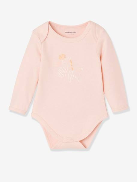 Lot de 5 bodies pur coton bébé manches longues LOT ROSE