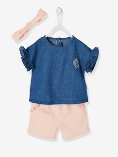 La nouvelle collection 2019-Bébé-Ensemble à volants bébé fille blouse en jean + short + bandeau