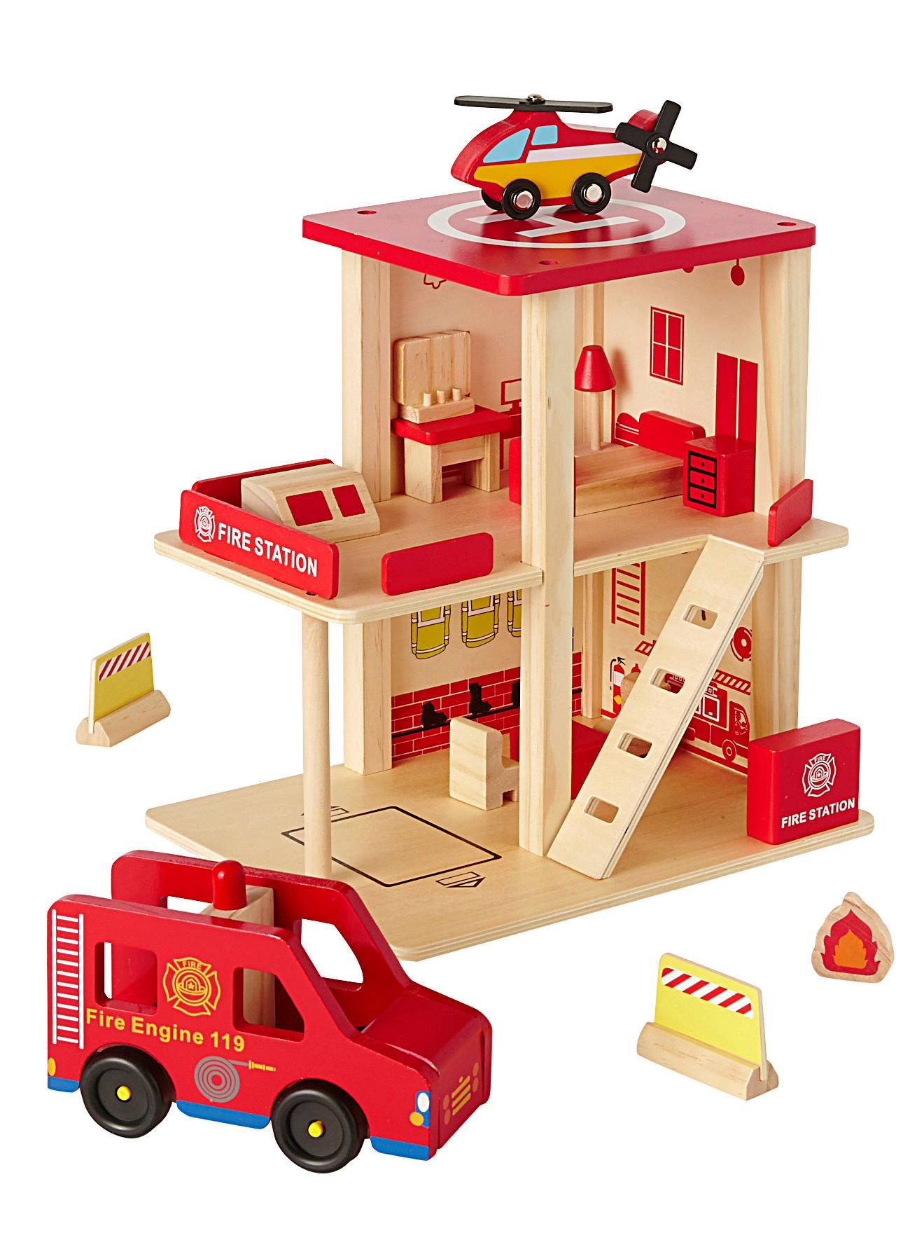 Wooden Naturegiocattolo Station Fire Department Red Ibfv6gym7Y