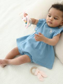 La nouvelle collection 2019-Bébé-Ensemble bébé robe + bloomer en denim léger